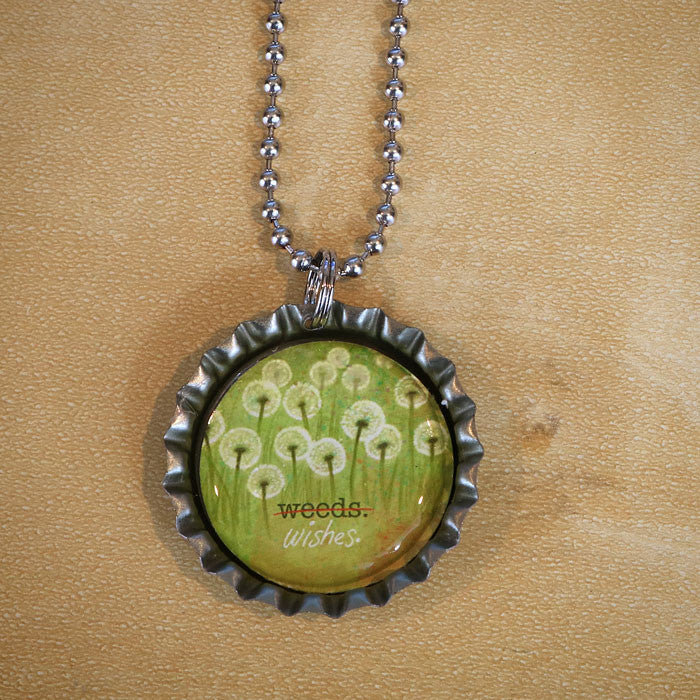 Weeds or Wishes Bottle Cap Pendant Necklace