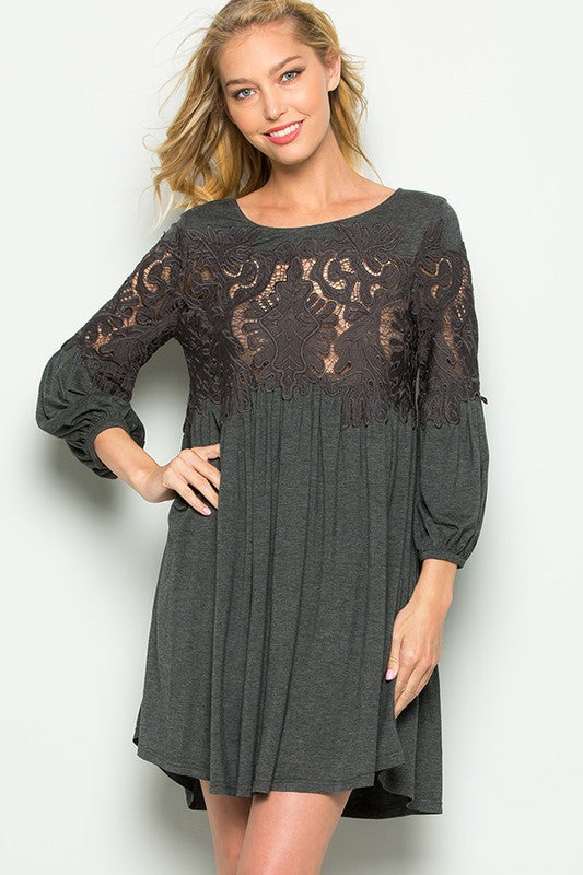 Crochet Lace Detail Dress. 32
