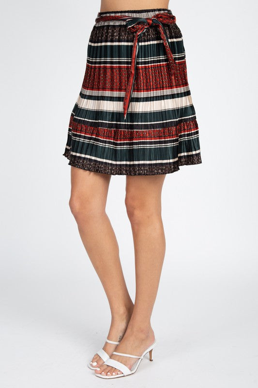 Self Tie Accordion Pleated Skirt-M9SK0002-