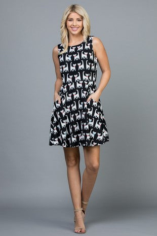 COUPLE CAT WITH BOW TIE PRINT DRESS WITH POCKET - DR1920