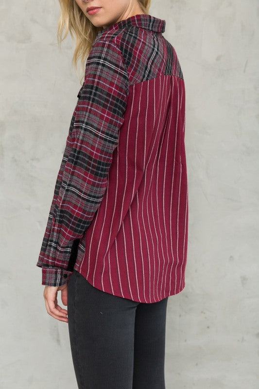 Plaid shirt with contrast back -16494