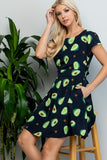 AVOCADO PRINT SS DRESS WITH TIE BACK-DR-1994