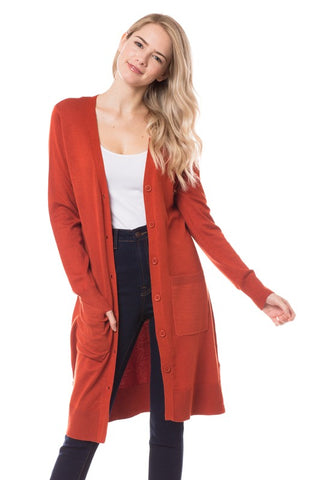 Button Up Long Cardigan SW70