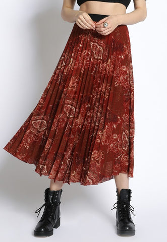 PLEATED PAISLEY SKIRT -S1855-09-F