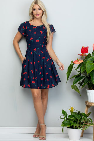 ALL OVER CHERRY PRINT SS DRESS WITH TIE BACK