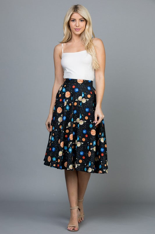 GALAXY PRINT SKIRT WITH POCKET -sk 1901