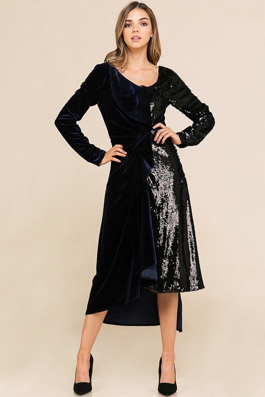 Contrast Velvet and Seq. Med Dress -AD5191