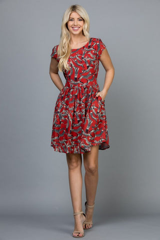 Roman Cat Print Dress-DR 1962