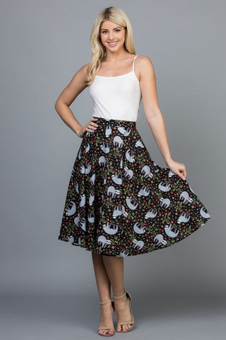 All Over Sloth Skirt with Pockets