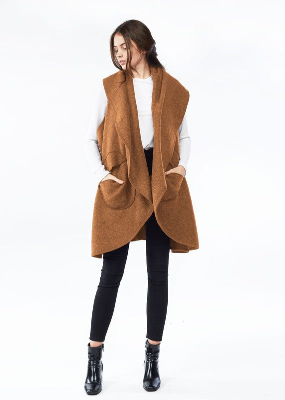 Circle Pocket Shawl Vest-MSF225