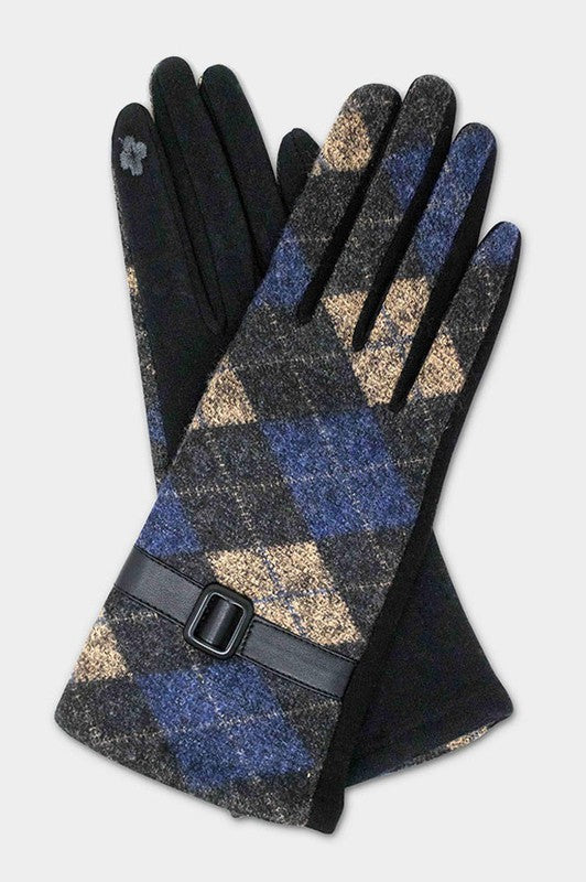 Argyle Pattern With Buckle Accent Smart Gloves-gl1263