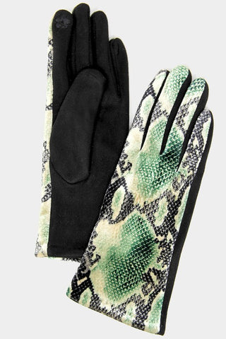 Snake Pattern Print Smart Gloves-gl119
