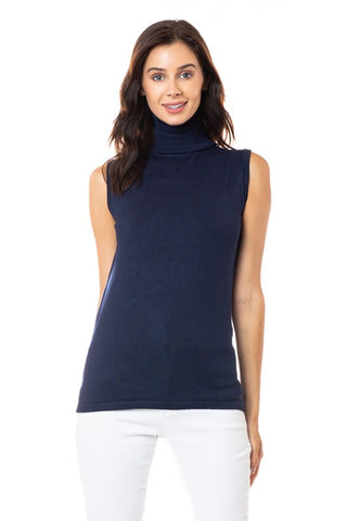 Sleeveless Turtleneck Knit Sweater -SW 180