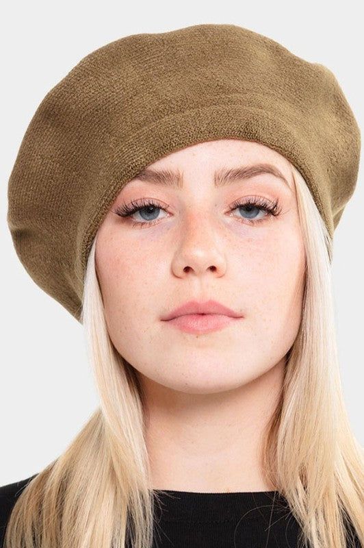 Stretchy Solid Beret Hat-H0011