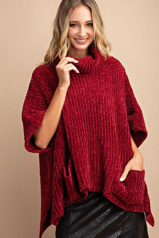 Solid turtleneck Chenille knit poncho sweater-sk2092