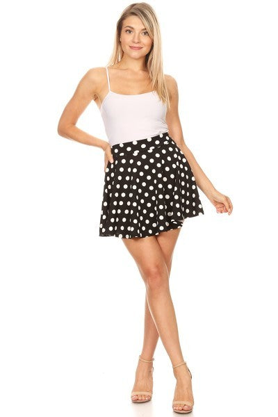 Black White Polka dot pull on a line mini skirt