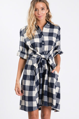 Plaid Tie Waist 3/4 Sleeve Dress-N2293.