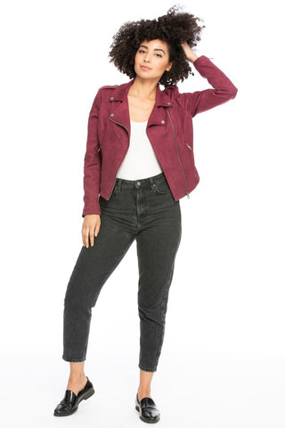 Faux Suede Moto Jacket-no buckle-DPJ3089