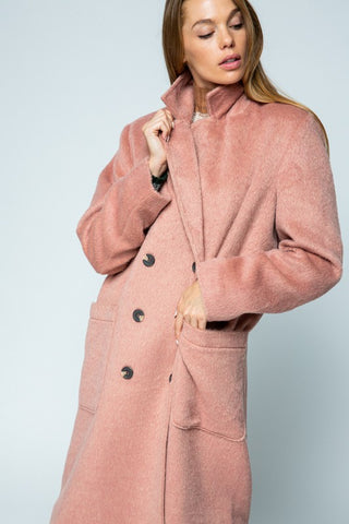 OVERSIZED LINED DOUBLE BREASTED TEDDY COAT -J50203-SAL
