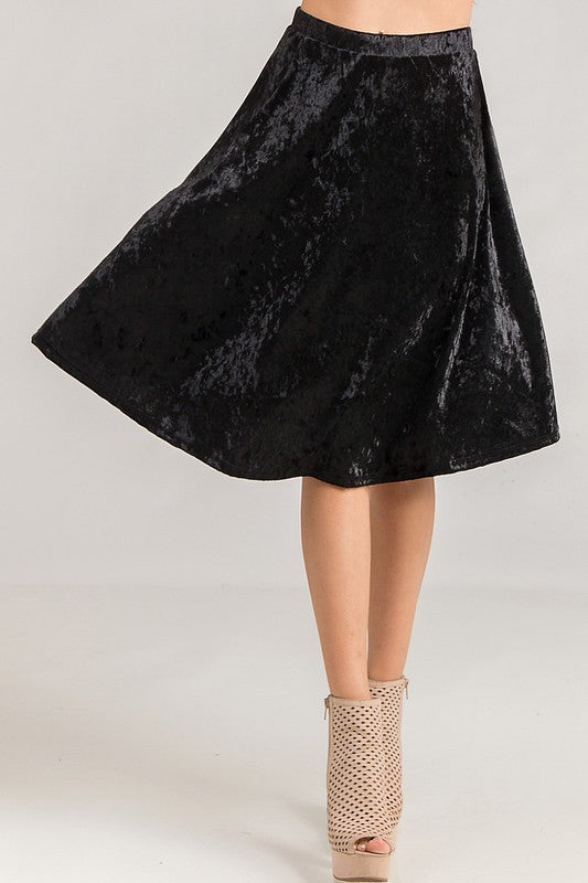 Crushed Velvet Twirly Skirt-LVS-10061VT