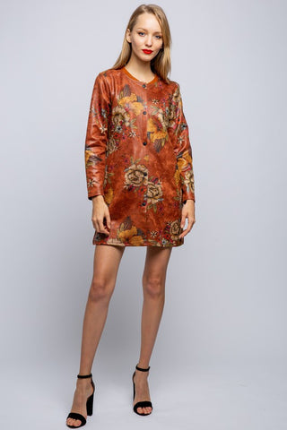 FAUX LEATHERFLOWER PRINTED JACKET-JK1002-y