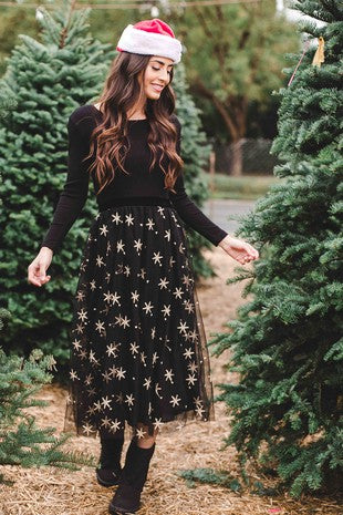 Gold Star Embroidered Black Tulle Skirt-SWE2700 GOLDSTAR