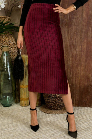 Side Slit Stripe Print Corduroy Midi Skirt-LS40125 CORDUROY SKIRT