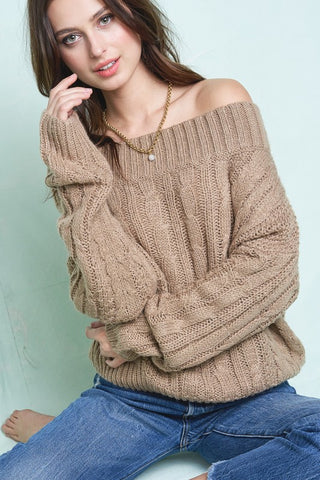 Off Shoulder Knit Sweater Knit Sweater-mls1040-b31