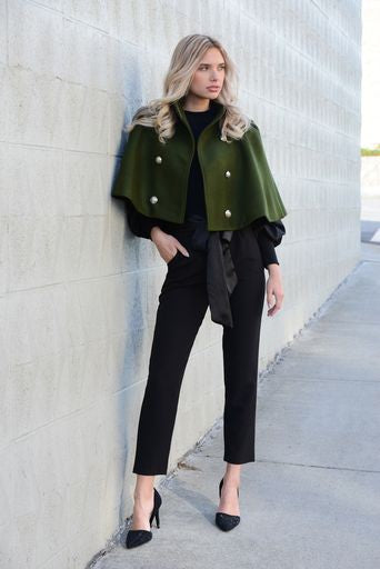 DOUBLE BUTTON SHORT WOOL CAPE COAT -50331-W19 GREEN