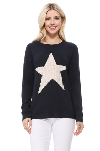 Knitted Star Pullover Sweater-MK3506-STAR-C-A1