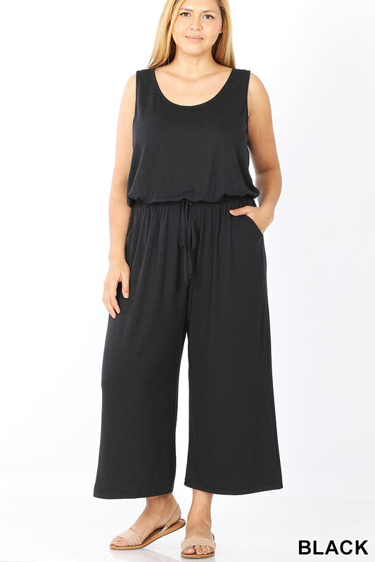 PLUS SLEEVELESS JUMPSUIT WITH POCKET - ELASTIC WAISTBAND- RP311XBA