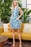 ALL OVER FUNKY CAT IN PEARLS PRINT DRESS WITH TIE BACK AND POCKETS