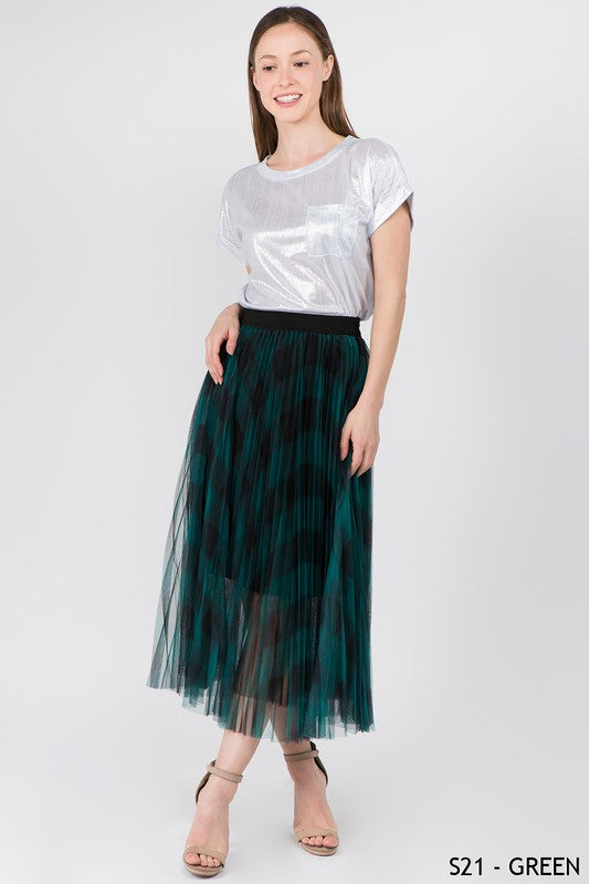 PLAID TULLE FULL MIDI SKIRT -S21