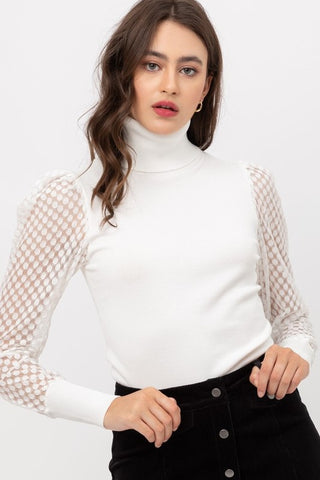 PUFF LONG SLEEVE TURTLE NECK KNIT TOP -9723WN...