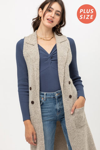 Open Front Collared Long Line Knit Vest Cardigan -9010WHX.