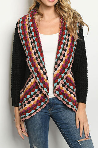 MULTI COLOR CROCHET DETAIL CARDIGAN-RS7044-1