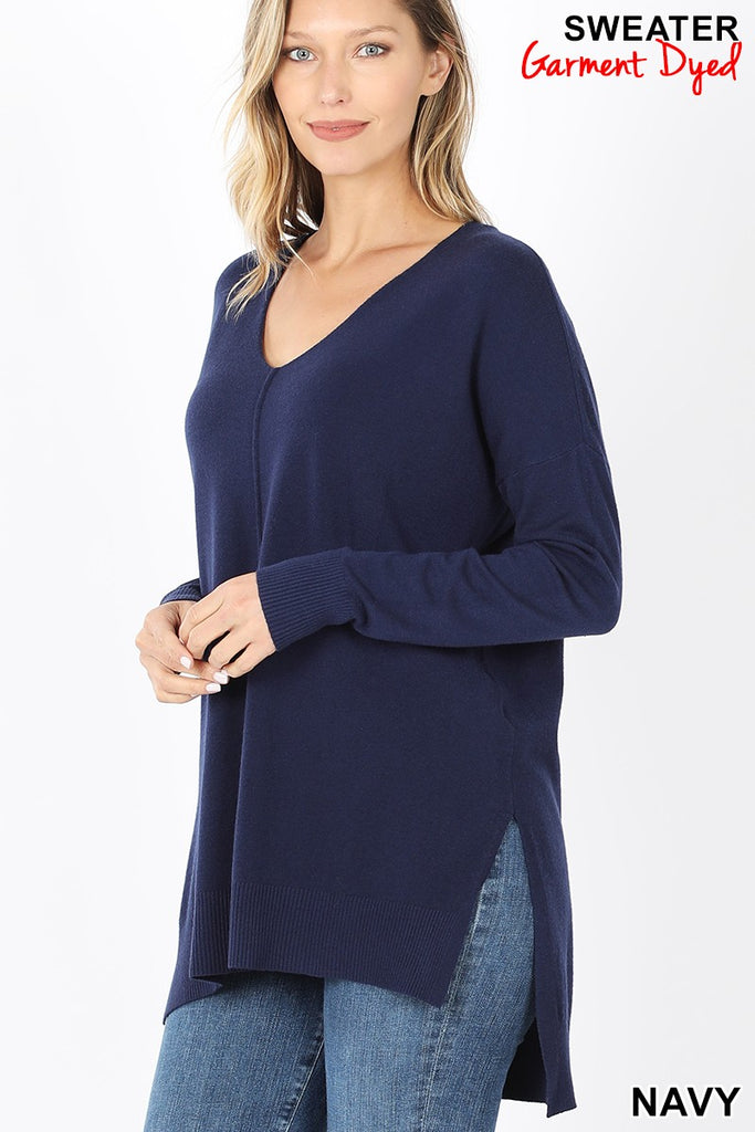 HI-LOW HEM FRONT SEAM SWEATER - SOFT GARMENT DYED SWEATER - TW-1962 - RELAXED FIT