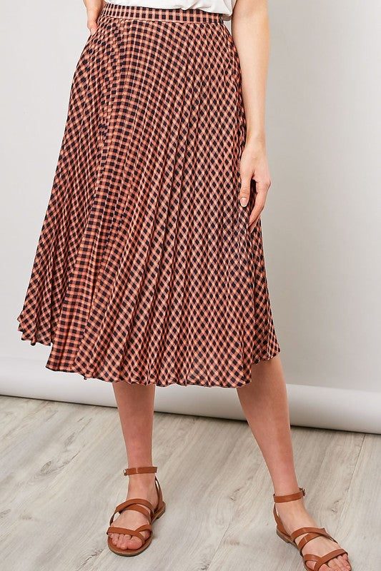 CHECKER PLEATED SKIRT-FS-15159