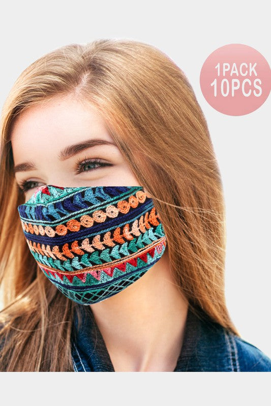 Abstract Embroidery Cotton Fashion Mask-PKM111-6