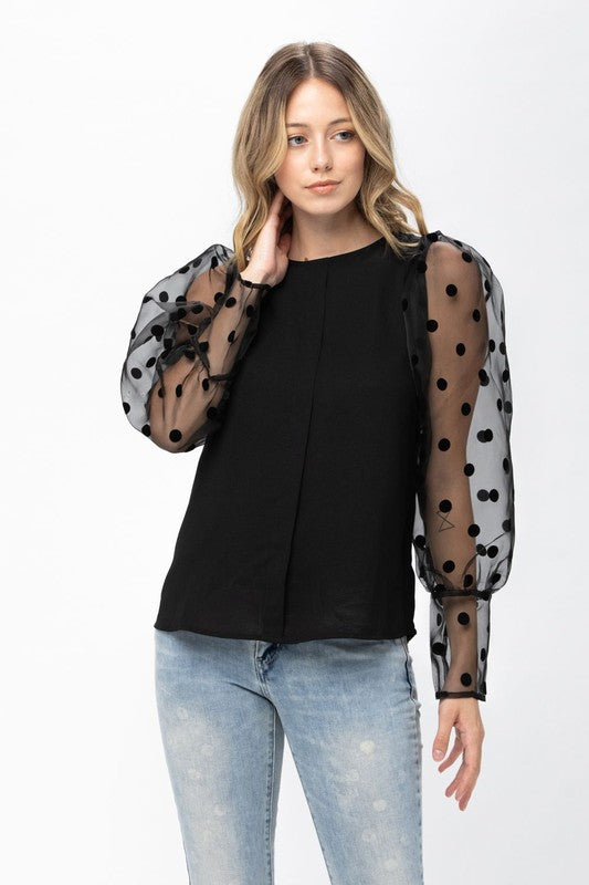 Women's Solid Body With Dotted Lace L/S Top -RP10511