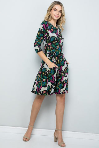 ALL OVER UNICORN PRINT WINTER TUNIC DRESS -LA-2012