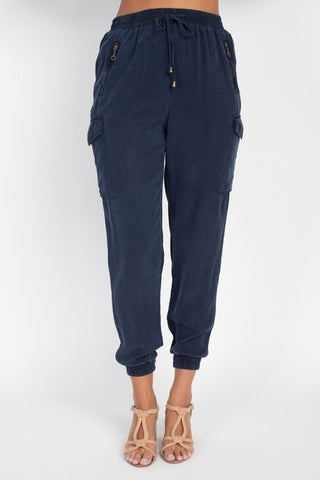 Tencel Jogger Pants in Navy