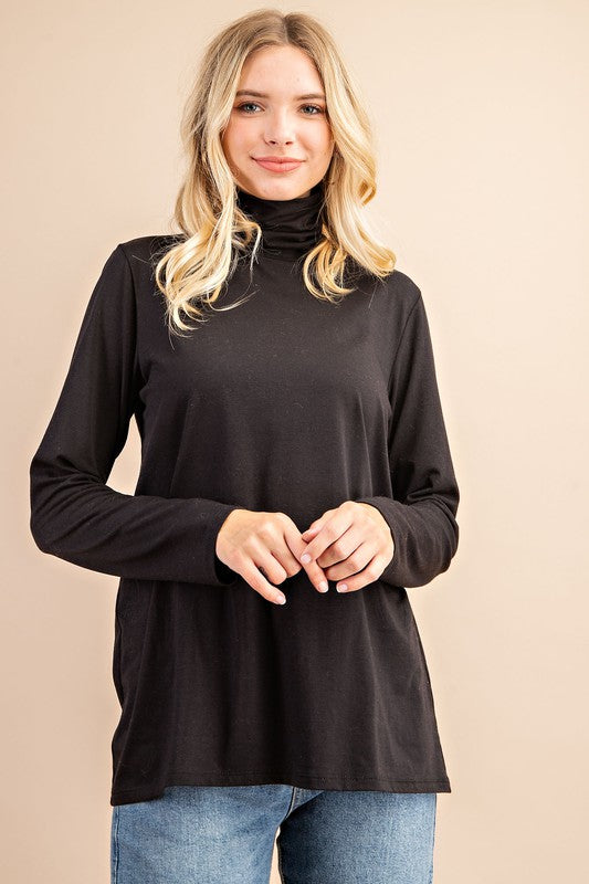 COTTON MODAL TURTLE NECK KNIT TOP-TM6396 .