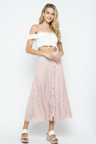 CUTE FLORAL PRINT SMOCKED HIGH WAIST CALF LENGTH SKIRT