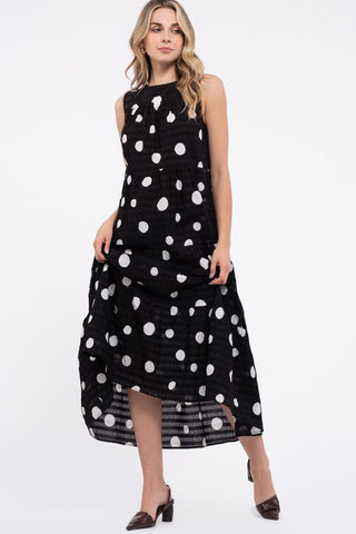 DOT PRINT TIERED DRESS