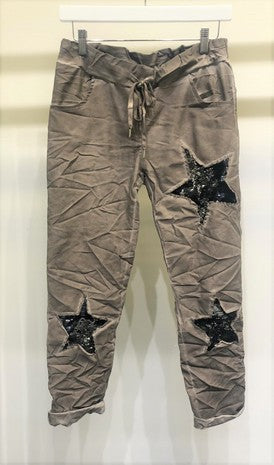 SEQUIN STAR CRINKLE JOGGER PANTS