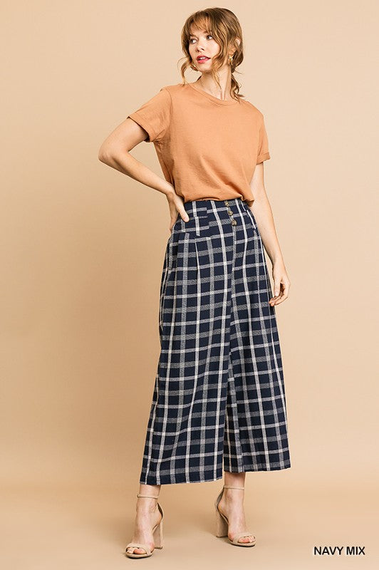 CHECKER PRINT HIGH WAIST WIDE LEG PANTS -U1-N6602