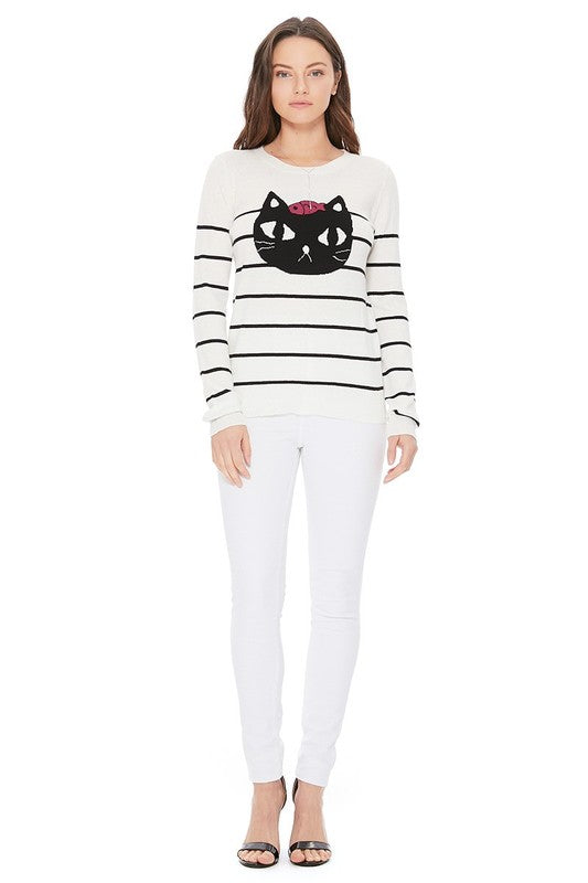 Striped Pattern Black Cat Jacquard Sweater-MK8097-C