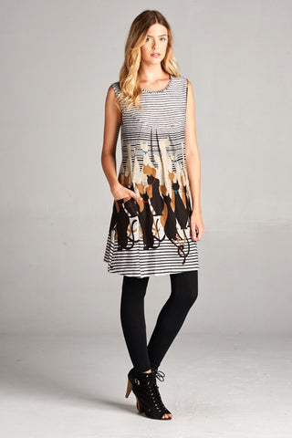Cat Print Dress with Mod  design