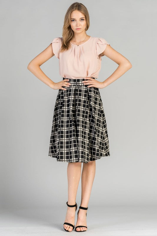 Big Check Pleaded Skirt-Black and White -SK1700P-1